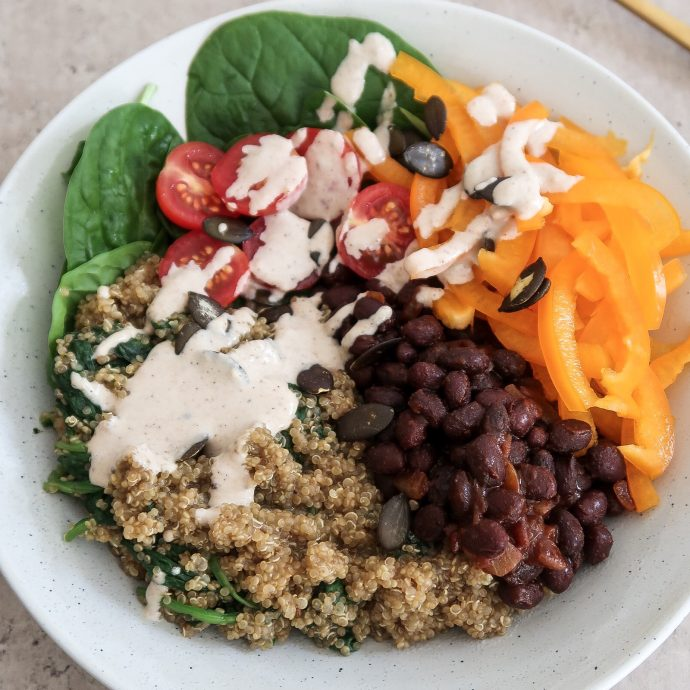 Quinoa and Black Bean Buddha Bowl (Iron-Rich)