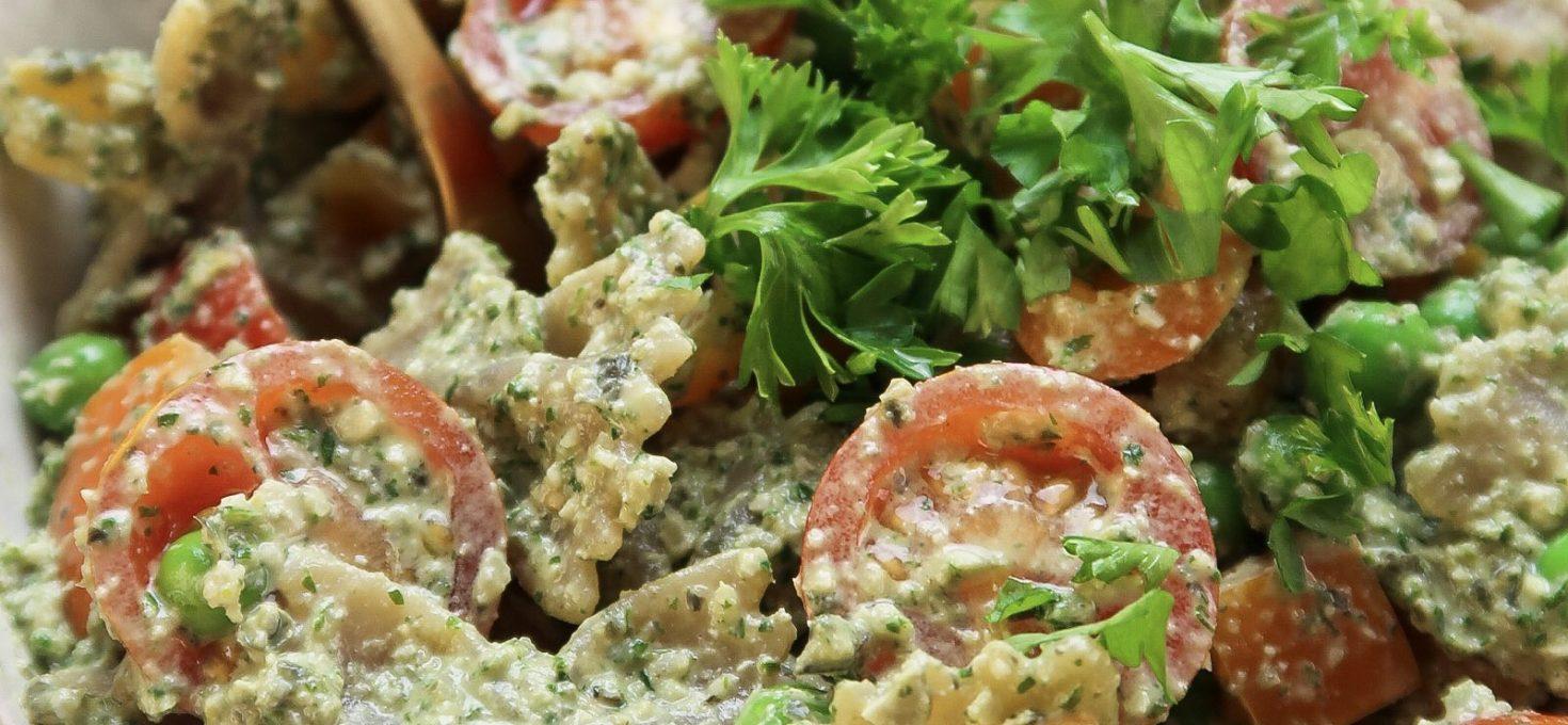 Oil-Free Vegan Pesto Pasta Salad With Pumpkin Seeds And Parsley Pesto